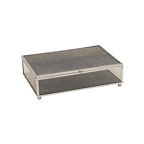 Silver Black Glass Jewel Box - Large