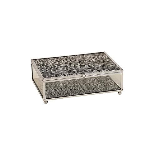 Silver Black Glass Jewel Box - Medium