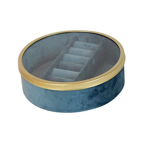 Tessa Velvet Round Jewel Box FR Blue Small