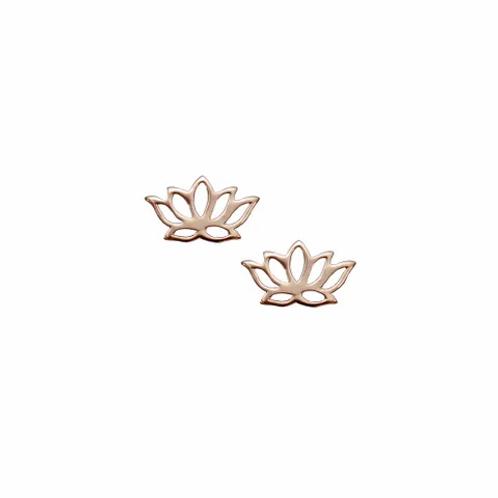Rose Gold Lotus Flower Stud Earrings