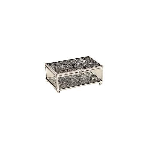 Silver Black Glass Jewel Box - Small