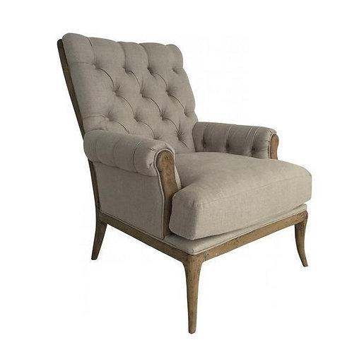 Beige Linen Arm Chair with Oak Legs