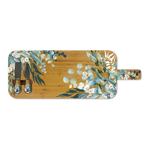 Large Bamboo Serving Platter with Cheese Knives - Native Eucalypt
