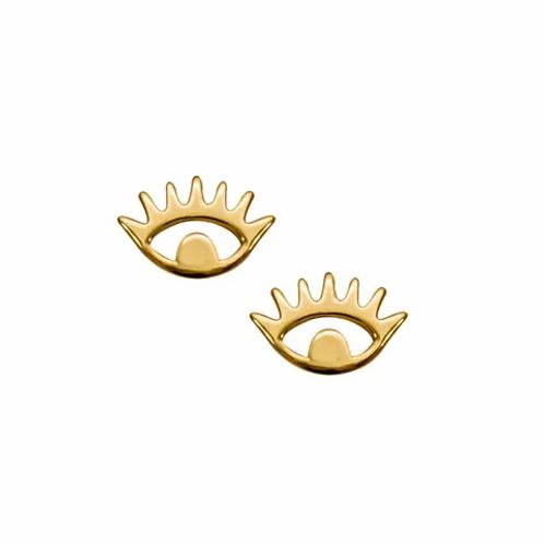 Yellow Gold Evil Eye Stud Earrings