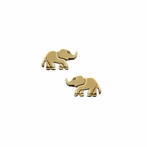 Yellow Gold Elephant Stud Earrings