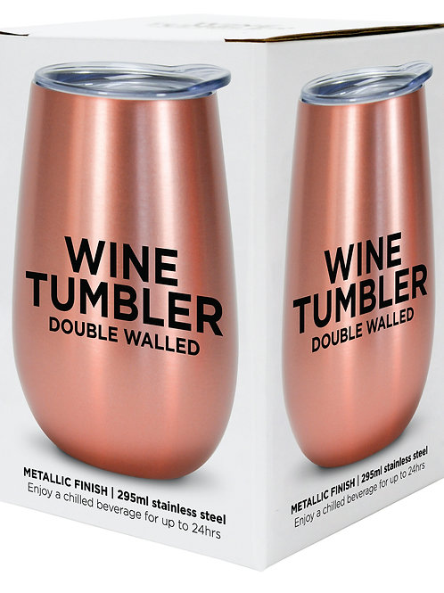 Wine Tumbler Stainless Steel - Rose Gold