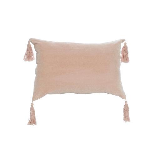 Mei Velvet Tassle Cushion Rect Pink Small