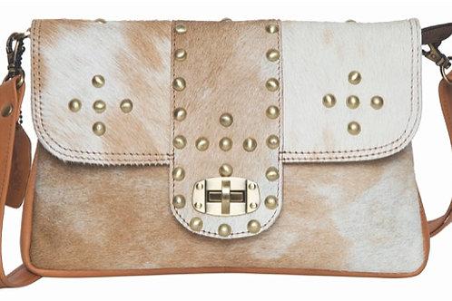 Flap Cowhide Bag with Studs- Monaco
