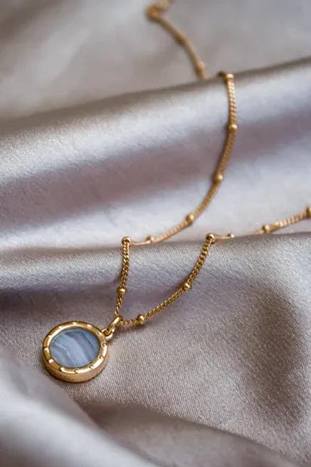 Gold - BlueLace Agate Pendant Necklace