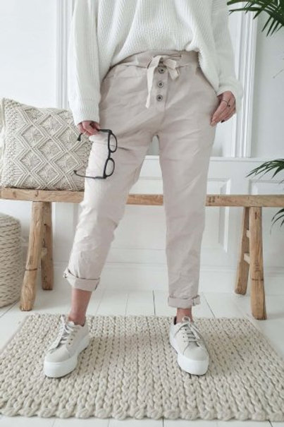 Perfect Joggers Buttons - Beige