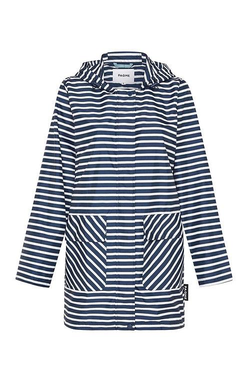 Womens 3/4 Jacket Recycled Raincoat - Navy Stripe