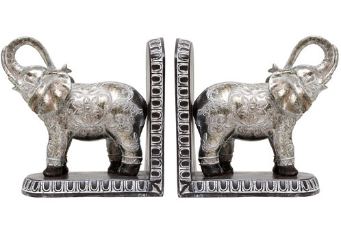 Bookends - Elephant Silver