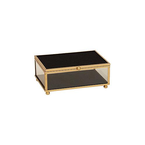 Armen Gold Black Glass Jewel Box - Small