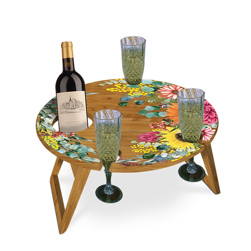Bamboo Picnic Table - Spring Bouquet