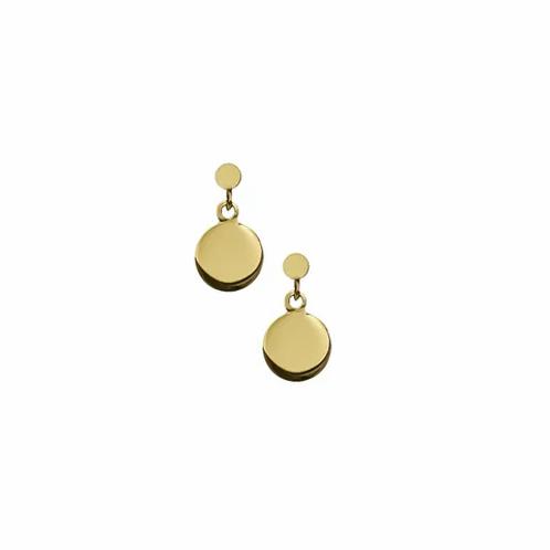 Yellow Gold Flat Drop Stud Earrings