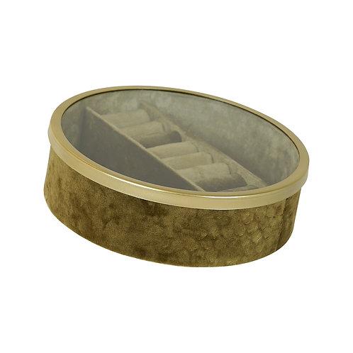 Tessa Gold Velvet Round Jewel Box Large