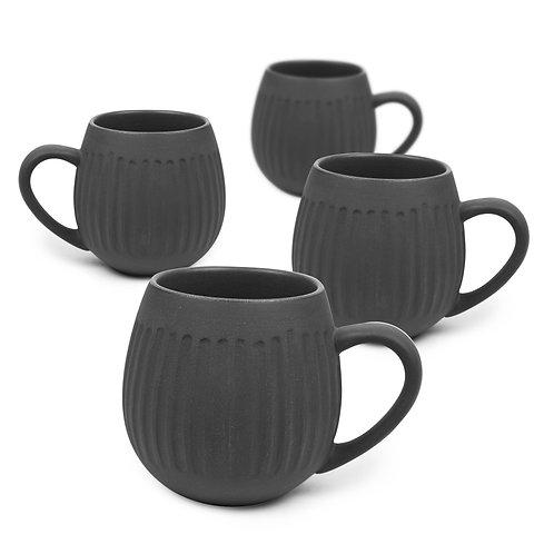 Black Clay Hug Me Tribe Mugs - 4 Pack