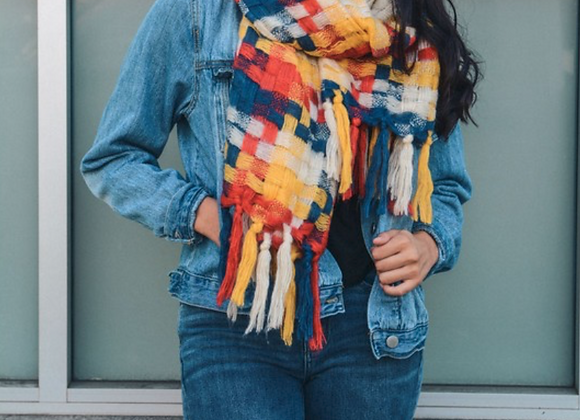 Warm Blue, Red & Yellow Mix Patchwork Long Tassel Scarf