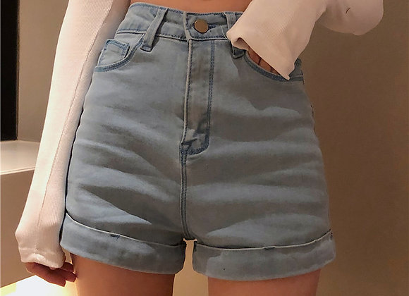 Retro High Waist Slim Womens Denim Short