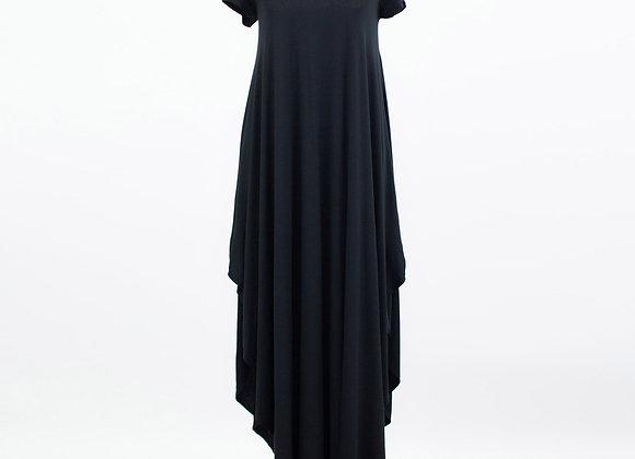 Side Slit Short Sleeve Casual Maxi Dress