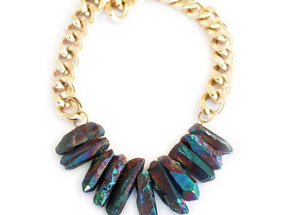 Rocked Up Crystal Quartz Necklace (Mermaid Rainbow)