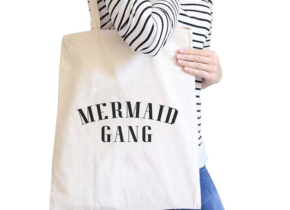 Mermaid Gang Natural Funny Saying Canvas Shoulder Bag Reusable Tote