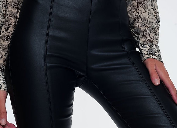 Leather Look Leggings With Elastic Super Skinny