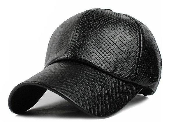 Tatsu Leather Cap - Vegan Snakeskin