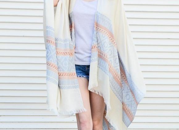 Frayed Edge Kimono Scarf