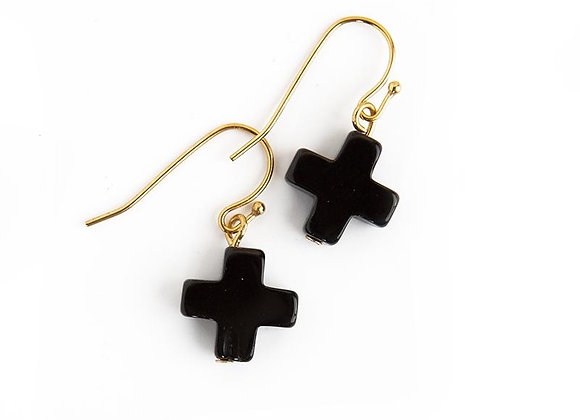 FAITH / Fear. Cross Drop Earrings, Black Agate