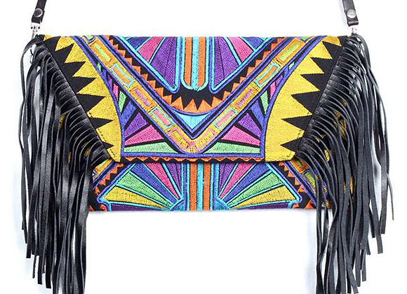 Tribe Leather Fringe Bag - Yellow Aztec Print