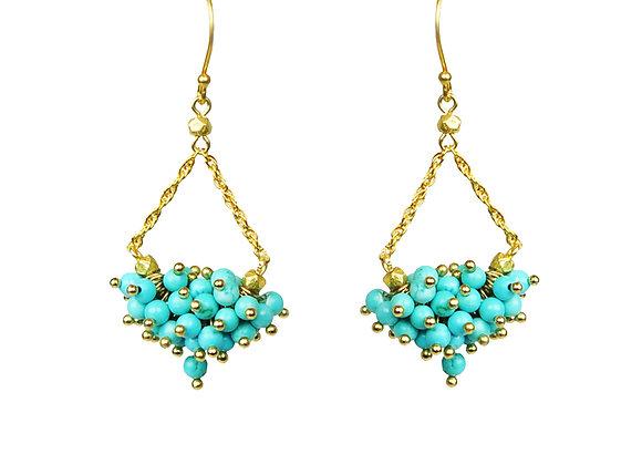Turquoise Cluster Chandelier Earrings