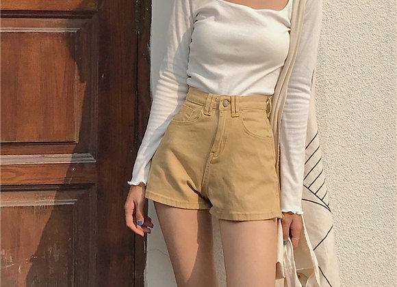 Retro High Waist Skinny Shorts