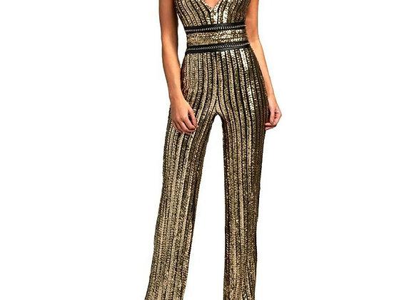 Gold Sequin Striped Jumpsuit