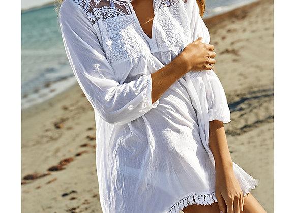 White Casual Beach Cotton Dress