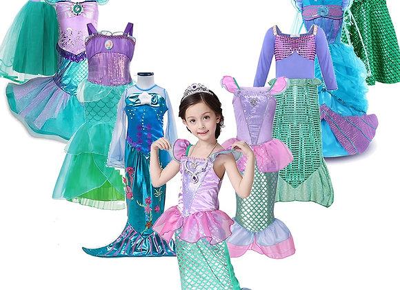 Girls Little Mermaid Ariel Princess Dress