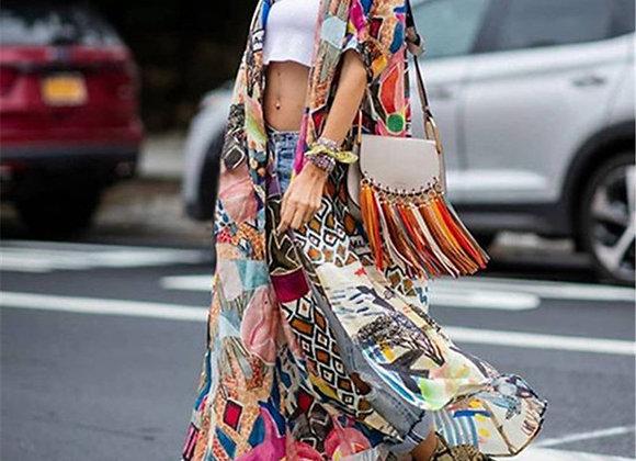 Bohemian Printed Half Sleeve Summer Beach Kimono