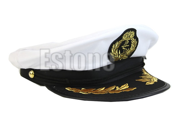 White Adult Yacht Boat Captain Navy Cap Costume Party Cosplay Dress Sailor Hat