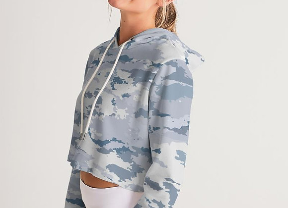 Women's White Camo Cropped Long Sleeve Hoodie