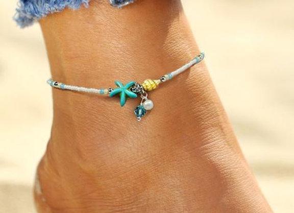 Beach Beaded Starfish Anklet Ankle Bracelet