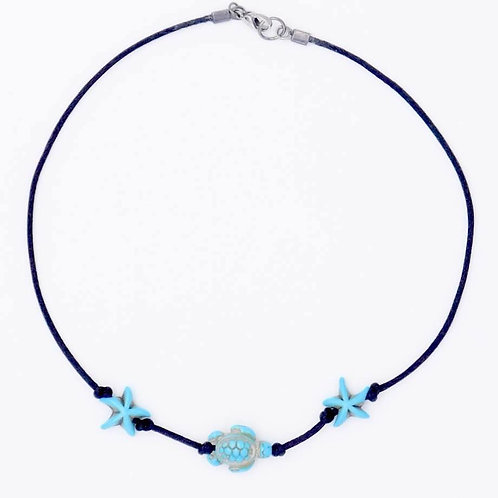 Sea Inspired Jewelry Turquoise-Colored Stone Sea Turtle and Starfish Handmade Choker
