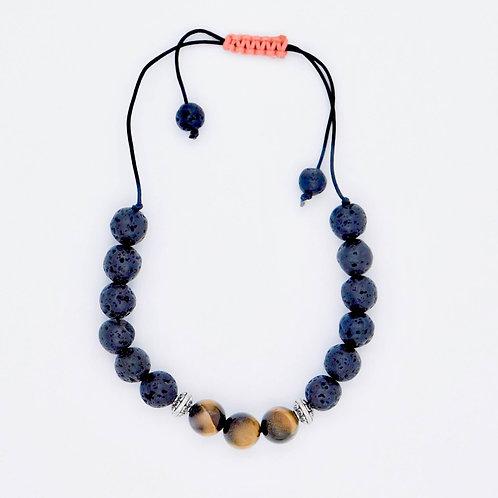 Genuine Tiger Eye and Lava Bead Handmade Aromatherapy Bracelet