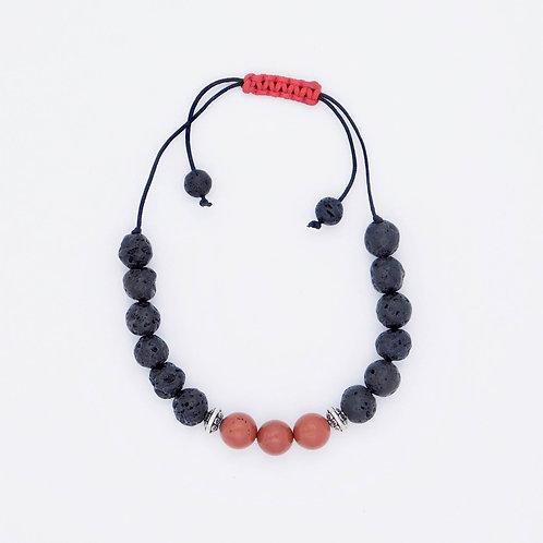 Genuine Red Jasper and Lava Bead Handmade Aromatherapy Bracelet