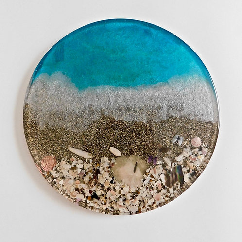 Handmade sea inspired resin beach lazy susan with real sand, shells, and shark teeth