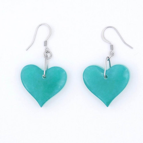 Handmade Green-Purple Resin Heart Earrings