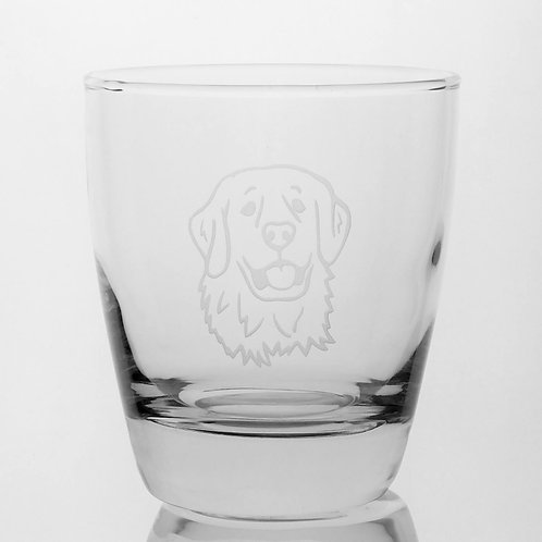 Custom deep etched golden retriever on clear glass tumbler.