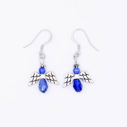 Blue Glass Bead Handmade Angel Earrings