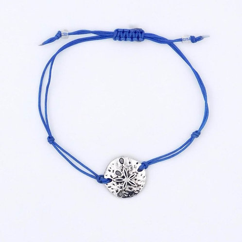 Sea Inspired Jewelry Silver-Plated Sand Dollar with Handmade Blue Nylon Cord Adjustable Bracelet