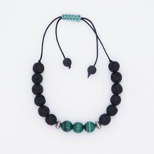 Genuine Malachite and Lava Bead Handmade Aromatherapy Bracelet