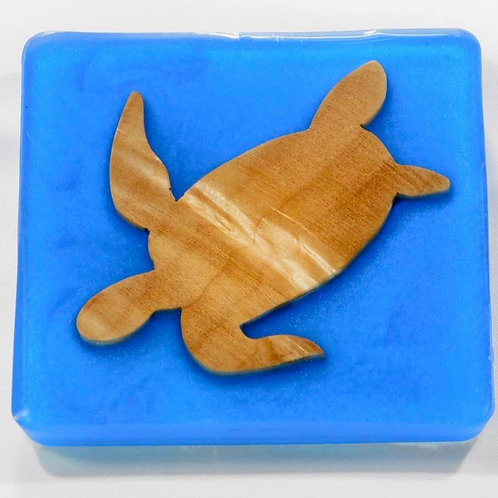 Sea Inspired Handmade Sea Turtle Wood and Resin Square Coaster